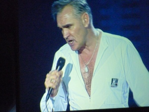 Morrissey, O2 Arena, November 2014, singing on screen